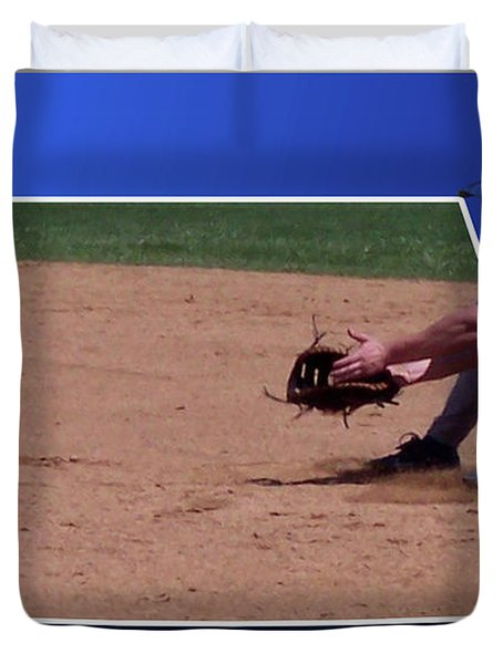 Baseball Hot Grounder Duvet Cover by Thomas Woolworth