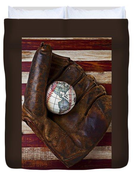 Baseball Mitt With Earth Baseball Duvet Cover by Garry Gay