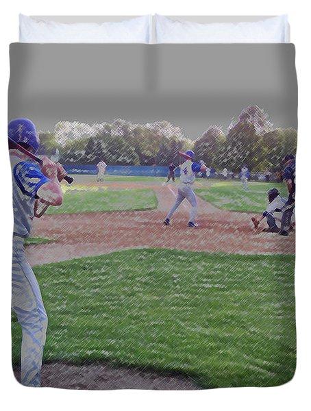 Baseball On Deck Digital Art Duvet Cover by Thomas Woolworth