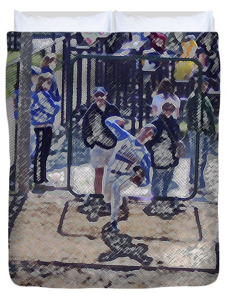 Baseball Pitcher Warming Up Digital Art Duvet Cover by Thomas Woolworth