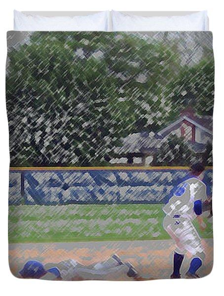 Baseball Playing Hard Digital Art Duvet Cover by Thomas Woolworth