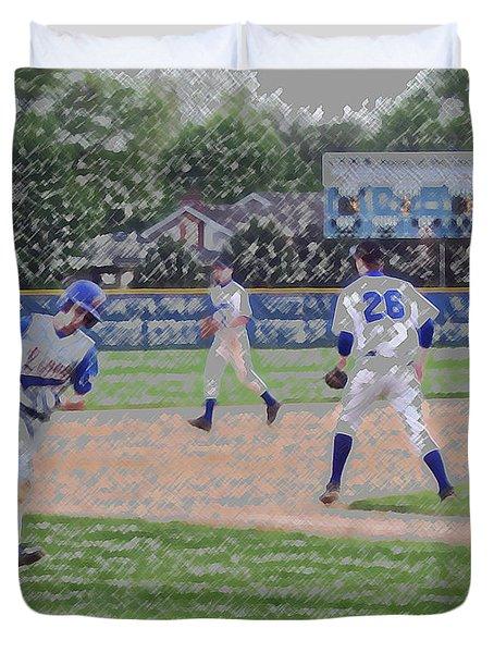 Baseball Runner Heading Home Digital Art Duvet Cover by Thomas Woolworth