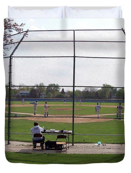Baseball Warm Ups Duvet Cover by Thomas Woolworth