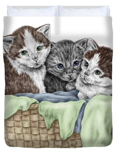 Basket Of Kittens - Cats Art Print Color Tinted Duvet Cover