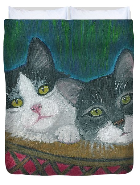 Basket Of Kitties Duvet Cover