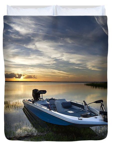 Bass Fishin' Evening Duvet Cover by Debra and Dave Vanderlaan