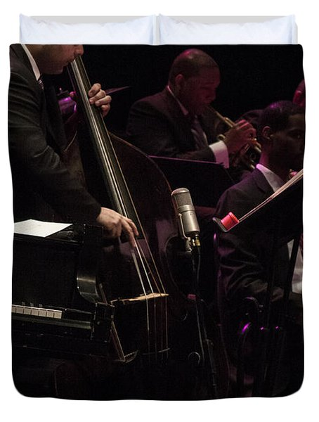 Bass Player Jams Jazz Duvet Cover