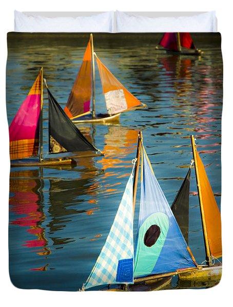 Bateaux Jouets Duvet Cover by Beth Riser