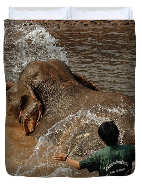 Bath Time In Laos Duvet Cover by Bob Christopher