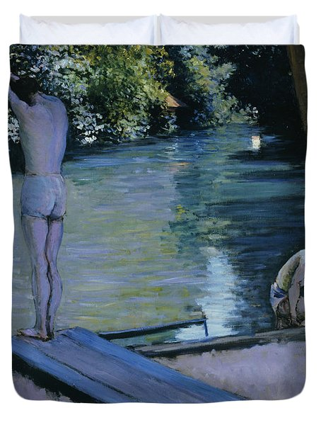 Bather About To Plunge Into The River Yerres Duvet Cover by Gustave Caillebotte