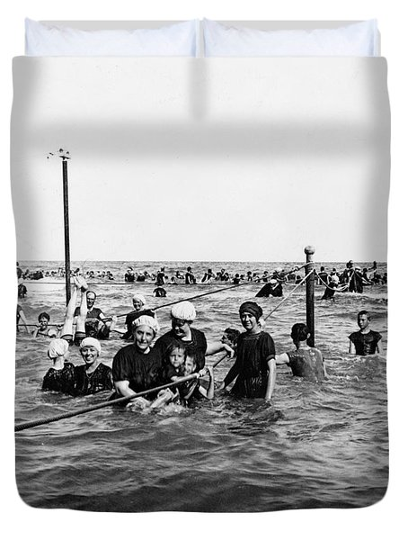 Bathing In The Gulf Of Mexico - Galveston Texas  C 1914 Duvet Cover