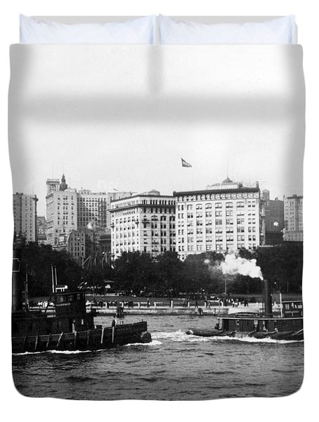 Battery Park And Lower Manhattan New York City - C 1904 Duvet Cover by International  Images