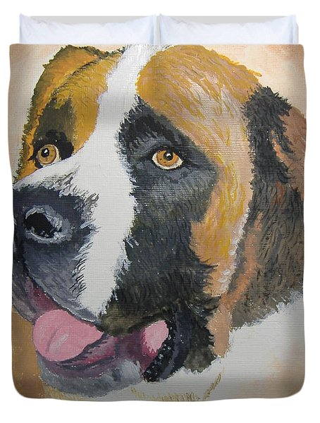 Duvet Cover featuring the painting Baxter by Norm Starks