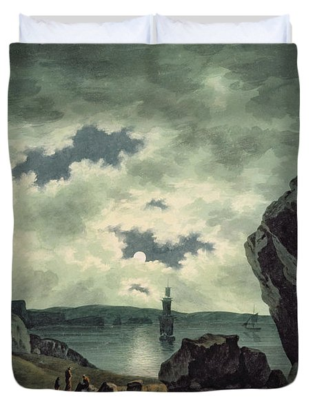 Bay Scene In Moonlight Duvet Cover by John Warwick Smith
