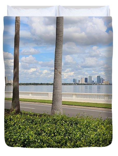 Bayshore Through Palms Duvet Cover by Carol Groenen