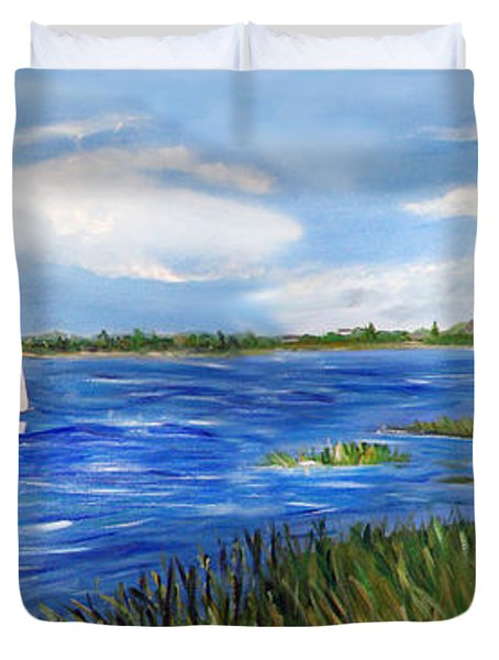 Bayville Marsh Duvet Cover by Clara Sue Beym