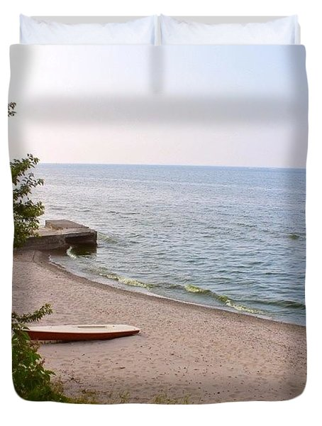 Beach And Boat Duvet Cover by Justin Connor