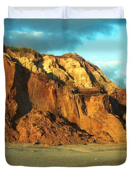 Duvet Cover featuring the photograph Beach Cliff At Sunset by Mark Dodd