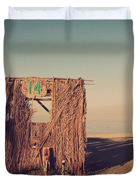 Beach Hut Number Fourteen Duvet Cover by Laurie Search