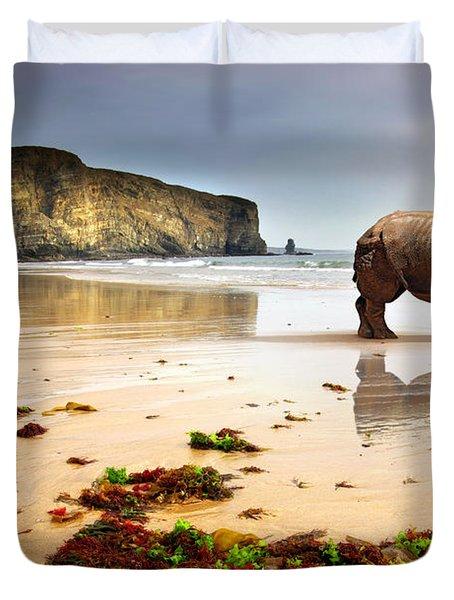 Beach Rhino Duvet Cover by Carlos Caetano