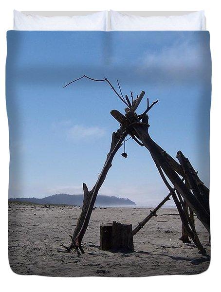 Beach Shelter Skeleton Duvet Cover by Peter Mooyman
