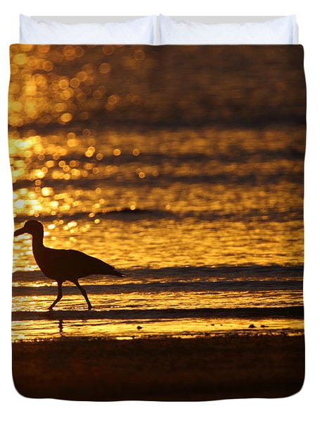 Beach Stone-curlews At Sunset Duvet Cover by Bruce J Robinson