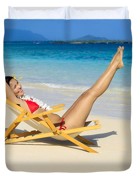 Beach Stretching Duvet Cover by Tomas del Amo