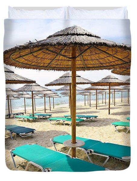 Beach Umbrellas On Sandy Seashore Duvet Cover by Elena Elisseeva
