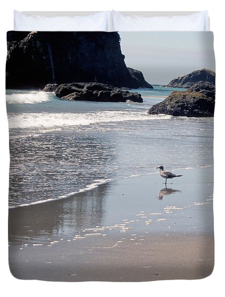 Duvet Cover featuring the photograph Beachcomber by Sharon Elliott