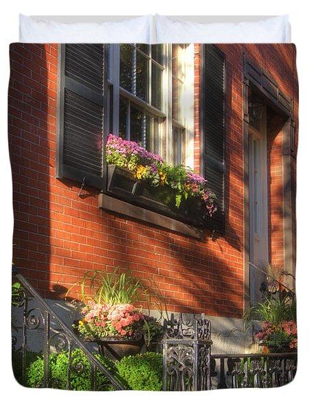 Beacon Hill Sidewalks Duvet Cover by Joann Vitali