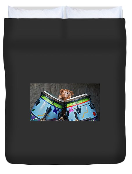 Duvet Cover featuring the photograph Bear And His Drums At Walt Disney World by Thomas Woolworth
