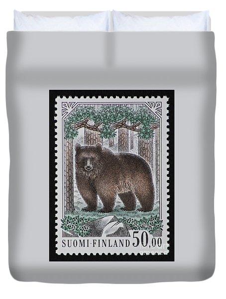 Bear Vintage Postage Stamp Print Duvet Cover