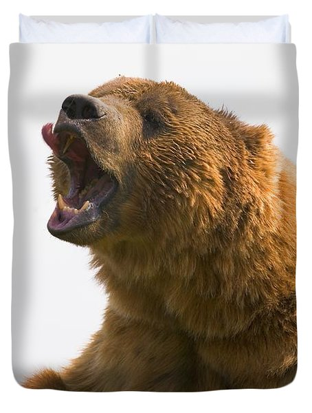 Bear With Tongue Out Of Mouth Duvet Cover by Carson Ganci