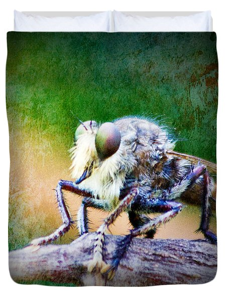 Bearded Robber Fly Duvet Cover by Barry Jones