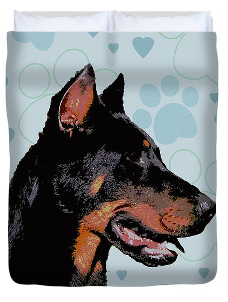 Beauceron Duvet Cover by One Rude Dawg Orcutt