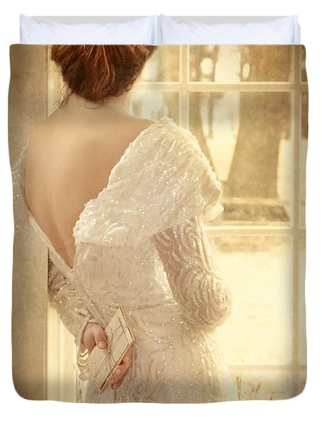 Beautiful Lady In Sequin Gown Looking Out Window Duvet Cover by Jill Battaglia
