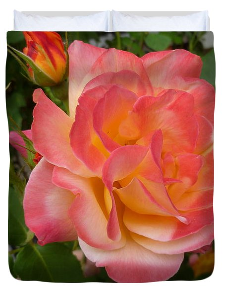 Duvet Cover featuring the photograph Beautiful Rose With Buds by Lingfai Leung