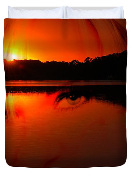 Duvet Cover featuring the photograph Beauty Looks Back by Clayton Bruster