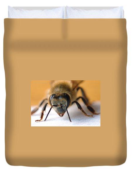 Bee In Macro 4 Duvet Cover by Micah May