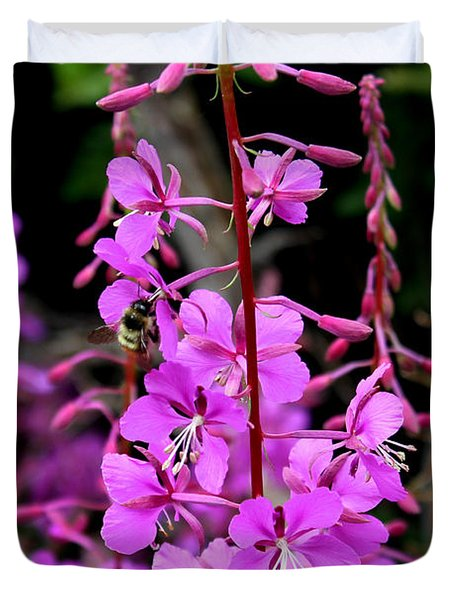 Duvet Cover featuring the photograph Bee On Fireweed In Alaska by Kathy  White