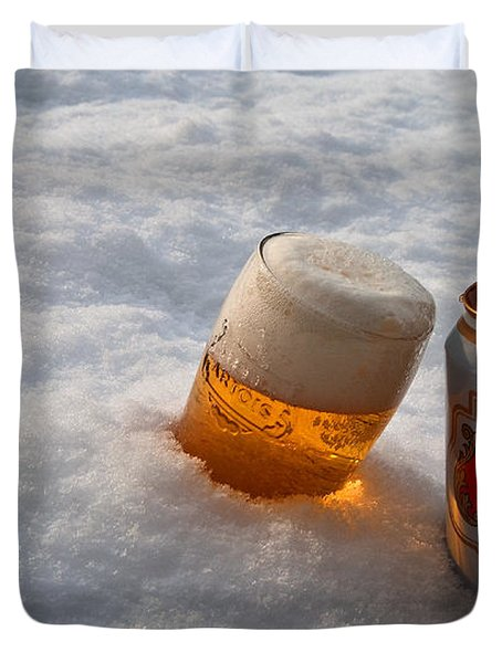 Beer In The Snow Duvet Cover by Rob Hawkins