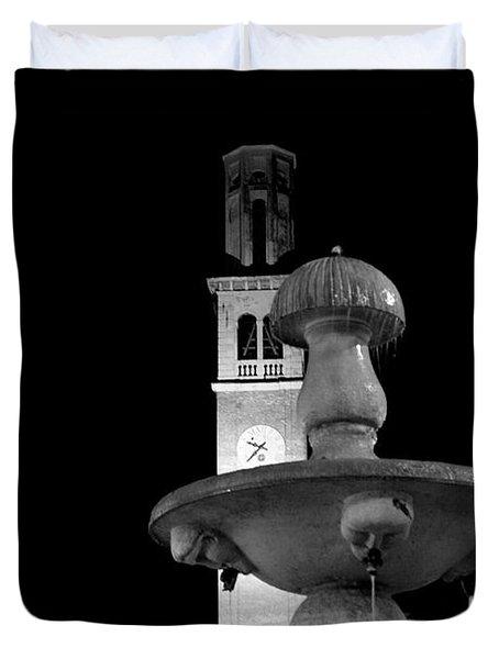 Behind The Strange Fountain Duvet Cover