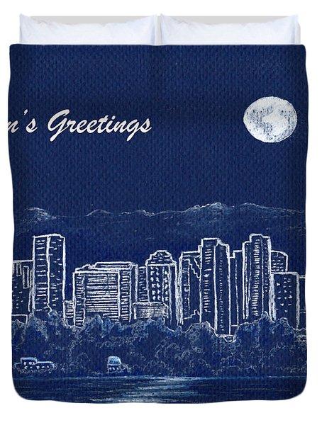 Bellevue Skyline Holiday Card Duvet Cover