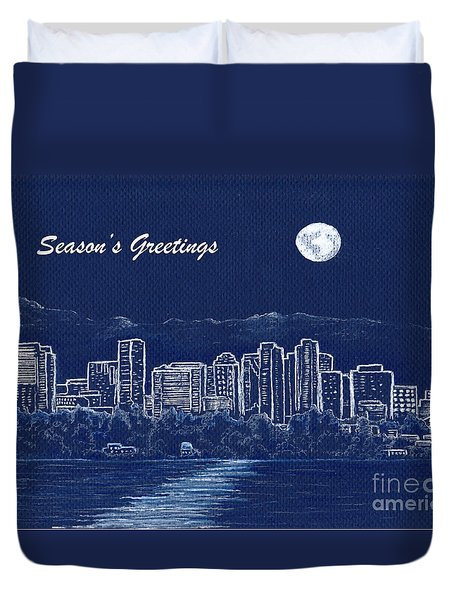 Bellevue Skyline Holiday Card Duvet Cover