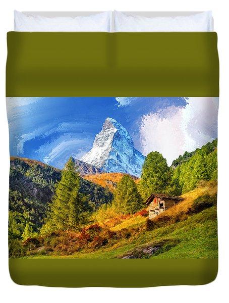 Below The Matterhorn Duvet Cover