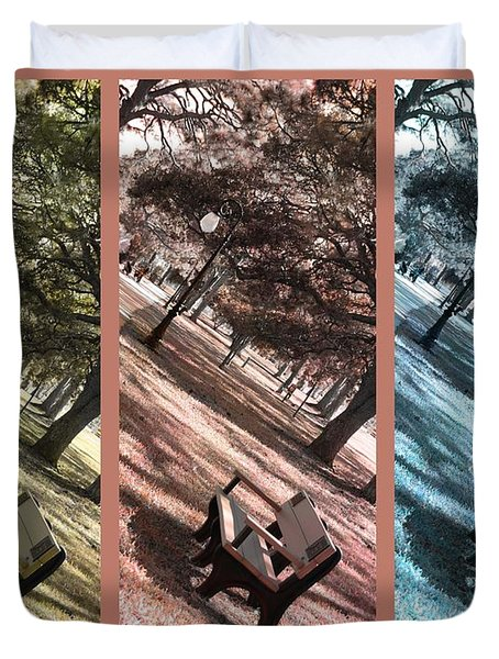 Bench In The Park Triptych  Duvet Cover by Susanne Van Hulst
