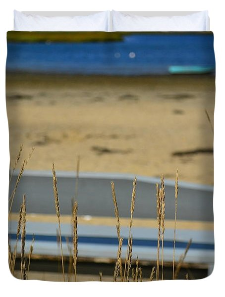 Bench On The Beach Duvet Cover