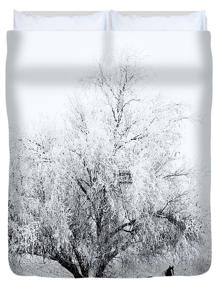 Beneath A Frosty Canopy Duvet Cover by Mike  Dawson