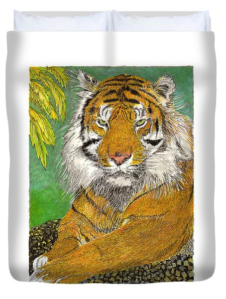 Bengal Tiger With Green Eyes Duvet Cover by Jack Pumphrey
