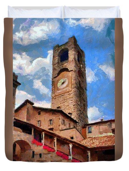 Bergamo Bell Tower Duvet Cover by Jeff Kolker